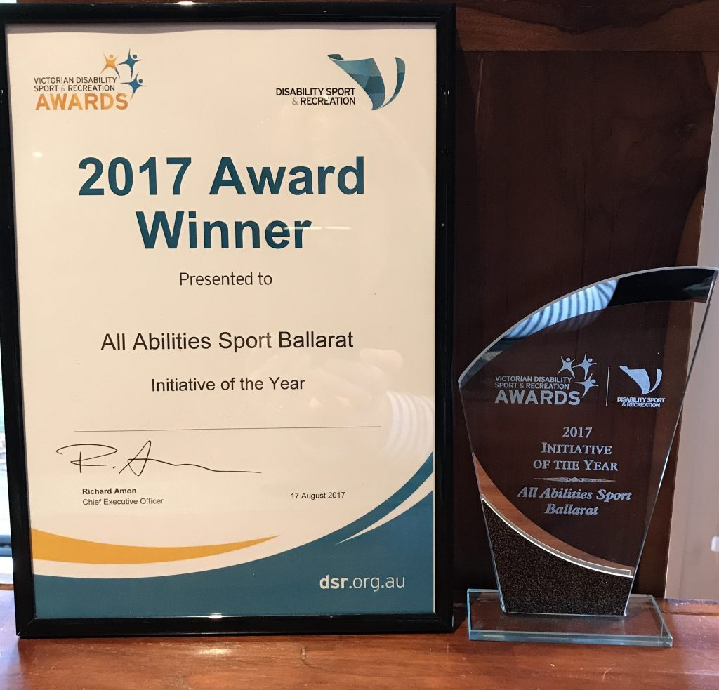 We are thrilled to have been nominated and then won Disability Sport and Recreation, Initiative of the Year! What an honour and a fitting tribute to the hard we we put in to make our group an inclusive place for children of all abilities